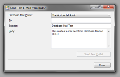 SSMS DatabaseMail - Test Email Dialog
