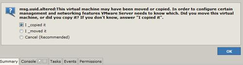 VM Error Message