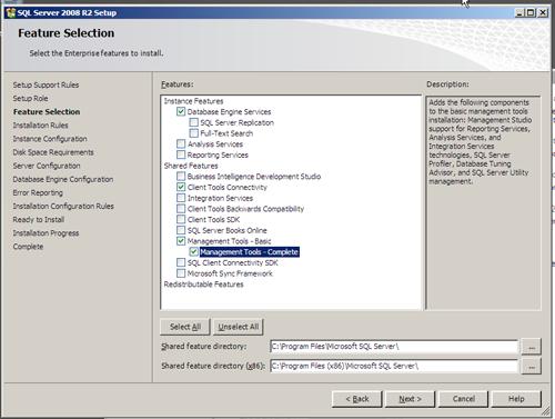 SQL Server 2008 R2 Setup - Component Selection