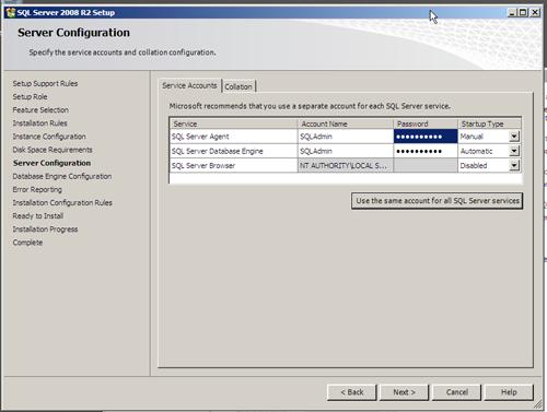 SQL Server 2008 R2 Setup - User Account Configuration