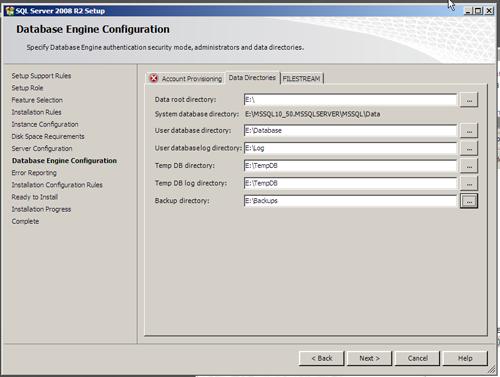 SQL Server 2008 R2 Setup - Data Directories