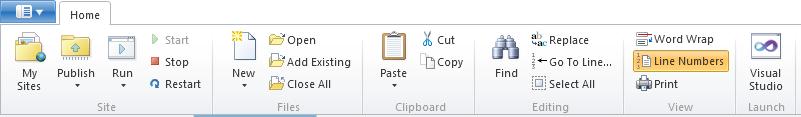 WebMatrix Files Toolbar